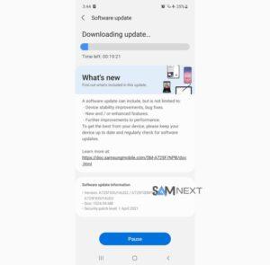 Samsung Galaxy A72 Update