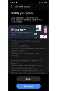 Samsung Galaxy S20 FE May 2021 Update
